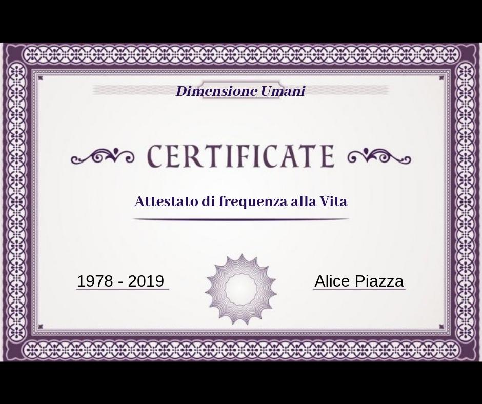 Certificato di Frequenza alla Vita